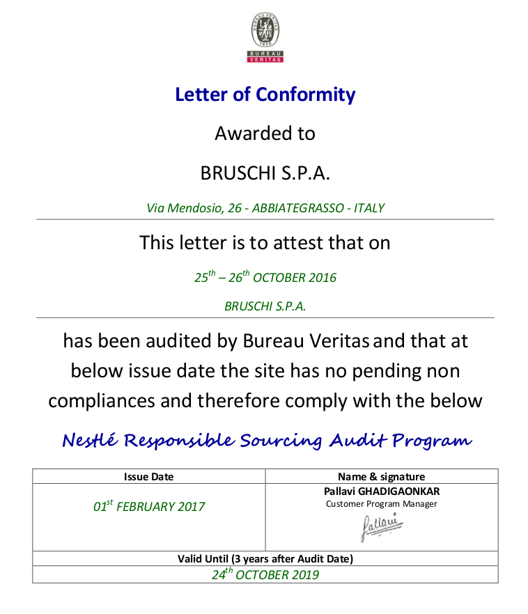 RSA letter of Conformity_BRUSCHI_S.P.A